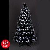 Autour de Minuit 5SAF145BC Las Vegas Sapin Fibre Optique avec 125 LED Noir/Blanc 120 cm