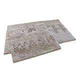 Bain et toilette 100% coton Paillette Ensemble de tapis de bain de salle de bain wc Gris argenté (Standard)