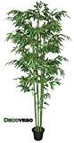 Bambou Plante Arbre Artificielle Artificiel Plastique 210cm avec Bois Véritable Domaine Interne Decovego