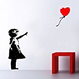 Banksy Balloon Girl XL vie Taille Pochoir Papier peint Motif mur, Plastique, GIRL 112CM HIGH