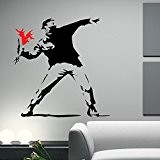 Banksy Hooligan with FlowersStickers muraux / stickers muraux de mur / transferts / stickers muraux