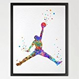 Basketball Player dignovel Studios Illustration Aquarelle Art Print Art Poster Home Decor mural à suspendre cadeau d'anniversaire pour enfant Chambre ...