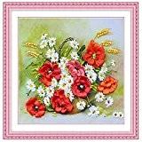 Bazaar 48x48cm 3d ruban de soie fleur kit point de croix broderie travail manuel bricolage décoration de la maison