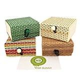 Bcony MINI simple Créatif Bambou En bois Boîtes à bijoux/boîte de rangement Mallette/coffrets/Cas/Organisateur,Petit Mignon (Vert Couleur Gris Beige)