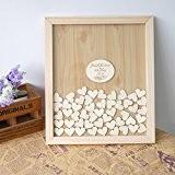 Beatete Livre d'or de mariage personnalisable Cadre à message en bois avec cœurs