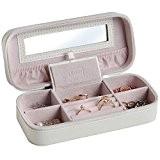 Beautify Boîte à Bijoux de voyage avec Miroir – Imitation cuir Crème intérieur Rose