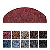 Beautissu® 15 tapis de marche d'escalier ProStair 20x56cm couture robuste - Antidérapant pose rapide facile - Bordeaux