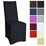 Beautissu® Housse strech Leona pour chaise de banquet - 45x90cm - Elegante, moderne - Bi-Elastique - OEKO-TEX – Noir