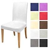 Beautissu® Housse strech Mia pour chaise - 45x45cm - Elegante, moderne et coloré - Bi-Elastique - OEKO-TEX - Blanc