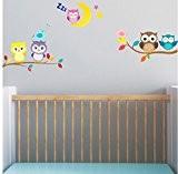 Bébé Chouette sur branche avec lune et Stickers muraux oiseaux 5x Hibou mignon Chambre Decor garçons filles Chambre Décoration Mur ...