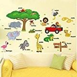 Befitery Jungle sauvage animaux sticker mural sticker tickers muraux pour chambre de bébé à motifs jungle / Enfants Chambre WallPaper(Cartoon ...