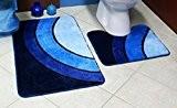 Bene Domo 100% acrylique Tapis de bain et contour WC Bleu Lot de 2tapis pour salle de bain/WC