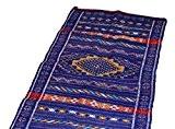 Beni Ourain Bleu avec Rouge et jaune Designs–Tapis fait à la main Kilim Laine berbère en laine tissé main–1.42m x ...