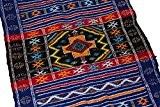 Beni Ourain Bleu avec Rouge et jaune Designs–Tapis fait à la main Kilim Laine berbère en laine tissé main–1.16m x ...