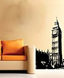 Big Ben London City Scape Grand salon sans Raclette. Sticker vinyle Papier peint, noir, Large - 59cm W x 90cm ...