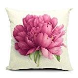 Bigood Décoration de Salon Chambre Housse Coussin Fleur Imprimé Chic Rose