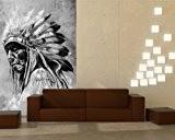 """Bilderdepot24 pajetée peint photo autocollant - autoadhésif """"Indiens en style vintage - noir et blanc"""" 100x150 cm - vente directe ..."""