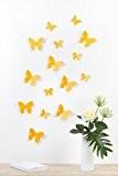 """Bilderdepot24 """"Papillons, style 3D"""" - JAUNE D'OR – lot de 15 pièces avec leurs points de colle pour fixage simple- ..."""
