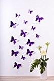 """Bilderdepot24 """"Papillons, style 3D"""" - VIOLETT GLITZER – lot de 15 pièces avec leurs points de colle pour fixage simple- ..."""
