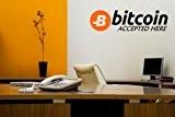 """'Bitcoin accepté ici'–Mur/Shop/voiture/sticker mural en vinyle pour ordinateur portable, noir/orange, Medium: 12cm x 45cm / 5"""" x 18"""""""