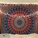 Bleu Couleur Orange Thème Mandala murale Tapestriy, Paon, Tapisserie, psychédélique indienne Tapisserie literie, Bohemian Mur à suspendre, imprimé floral Reine ...