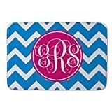 Bleu Gris Rose personnalisée Paillasson d'extérieur Bienvenue Funny Tapis de sol pour paillasson d'entrée Way Funny monogramme chevrons géométrique tapis ...