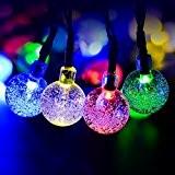 Blinngo Guirlande Lumineuses Solaire 4.8M 20 LED Boules Etanche en Forme Sphère Cristal, Décoration Pour Nouvel An Noël Jardin Mariage ...