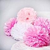 Bliqniq 5x pompons fleurs en papier de soie pour la décoration de la noce,du baby shower.Blanc/Rose Clair/Rose(ø35cm)