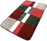 Blocs Carrés Rouge Gris Crème Grand tapis de bain tapis de bain tapis épais 88,9x 55,9cm 89x 55cm