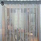 Bluelans® Rideau de fils avec 40perles pour porte ou fenêtre beauté décoratif séparateur de pièce écran anti-mouches pampille store, Silver, ...