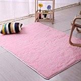 Bluelans Tapis de sol à poils doux et épais 50cm x 80cm, Polyester, rose, 60cm x 120cm