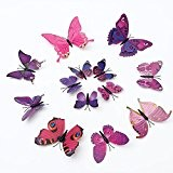 Bluelover 12Pcs 3D papillon Wall Stickers frigo Magnet pour maison & décoration-purple & rouge