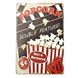 Bluelover Decoration murale Popcorn Tin signe Vintage Metal Plaque Poster Bar Pub Accueil