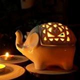 Bluelover Éléphant en céramique creux créatif bougie titulaire artisanat aromathérapie