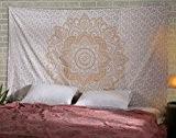 Boho Mandala Tapisserie Indien Tenture lotus d'or coton Déco mural Or Hippie Florale drap de lit Par Rajrang