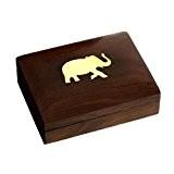 Boîte En Bois Avec Éléphant En Laiton - Coffret À Bijoux