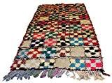 Boucherouite marocain vintage Tribal tressé à la main Multicolore Carreaux Patchwork berbère Tapis 2.36x 1.11m