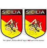 Bouclier Sicile Sicilien Italie Sicile italien 75mm (7,6cm) Bumper en vinyle autocollants, Stickers x2