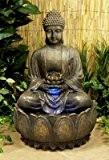 Bouddha Et Fleur De Lotus Eclose – Avec Lumière LED