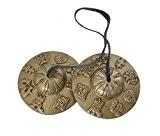 """Bouddhiste tibétain Bells main Tingsha avec Craved Dharma Objets """"8 Symboles de bonheur"""" - (TING-8SGN-MID)"""