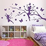 Branche avec elfes - Sticker mural Violet 54 x 25 cm (Muraux Décoration Murale Stickers Wall Decal Autocollants Salon Chambre ...