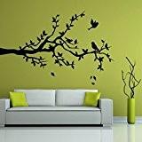 Branche avec trois oiseaux - Sticker mural gris 78 x 50 cm (Muraux Décoration Murale Stickers Wall Decal Autocollants Salon ...