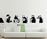 Broomsticker Banksy Lot de 5 grands stickers muraux motif Rats Vinyle