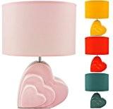 BRUBAKER Lampe de table / de chevet - Pied en Céramique - Design 'Cœur' - Hauteur 34,5 cm - Rose