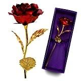 Cadeau Saint Valentin pour Femme Maman,24 Carats Feuille d'Or Rose- Emballage Cadeau,Idée Cadeau pour Anniversaire,Marriage et Noel(Rouge)