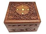 Cadeaux spéciaux sur la fête des mères Boîte à bijoux en bois, 4X4 centre en laiton n sculpter Vintage Box, ...