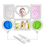 Cadre de Photo avec 4huellas de bébé, 6 parties pour mettre photo et empreinte, blanc.