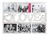 Cadre pêle-mêle 46 x 34 x 1,5 cm (Alsino 94/2561) Blanc aspect vieilli LOVE pour 6 photos Une idée cadeau ...