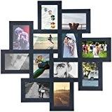 Cadre photo bois - Pêle-mêle mural - coloris gris anthracite - Capacité 12 photos 10x15cm - Multi Vue 64x64cm (Gris ...