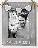 Cadre photo cœur, déco romantique, bois tons de gris clair, ficelle de chanvre rustique, curs blancs, pour photo 13 x ...
